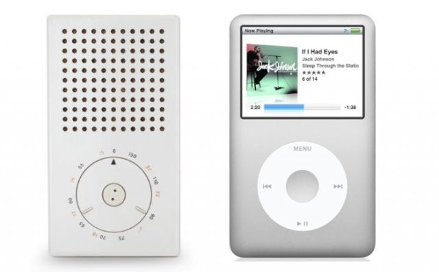 Left: Pocket radio (model T3) designed by Dieter Rams; Right: Apple iPod